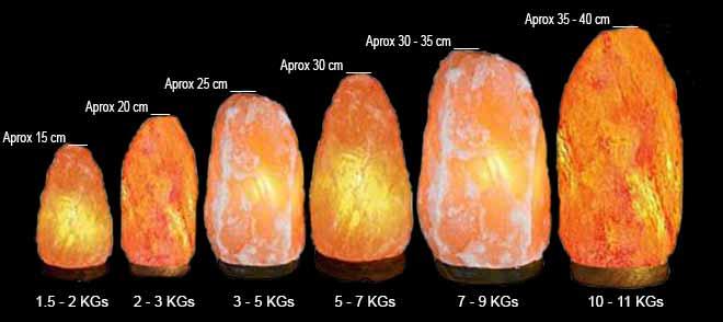 Natura Salt Lamps Size Chart