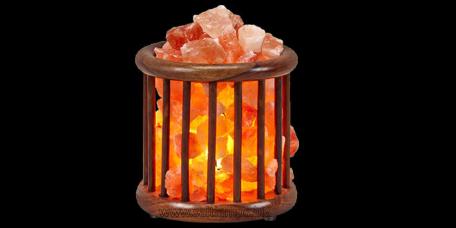 Round Wooden Basket Salt Lamp
