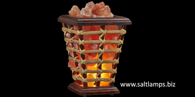 Wooden Basket Salt Lamp